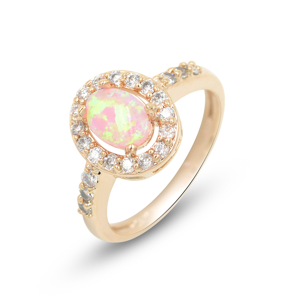 gold ring media jewelry leaves unique engagement australian rose opal