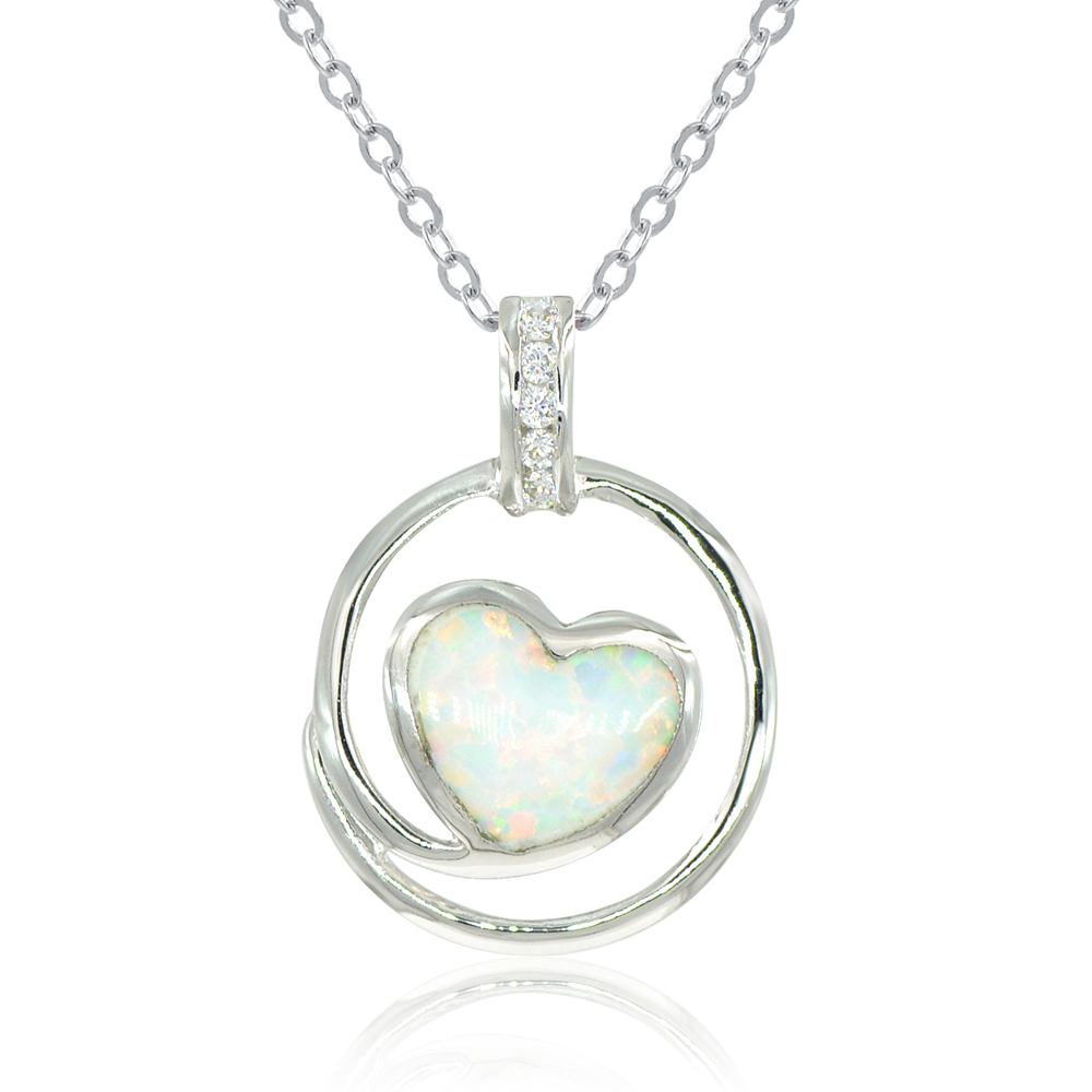 Simulated opal heart pendant necklace 18 espere jewelry aloadofball Gallery
