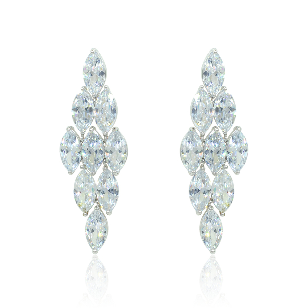 Diamond Long Bridal Dangle Drop Earrings – espere jewelry 024ed2a52d