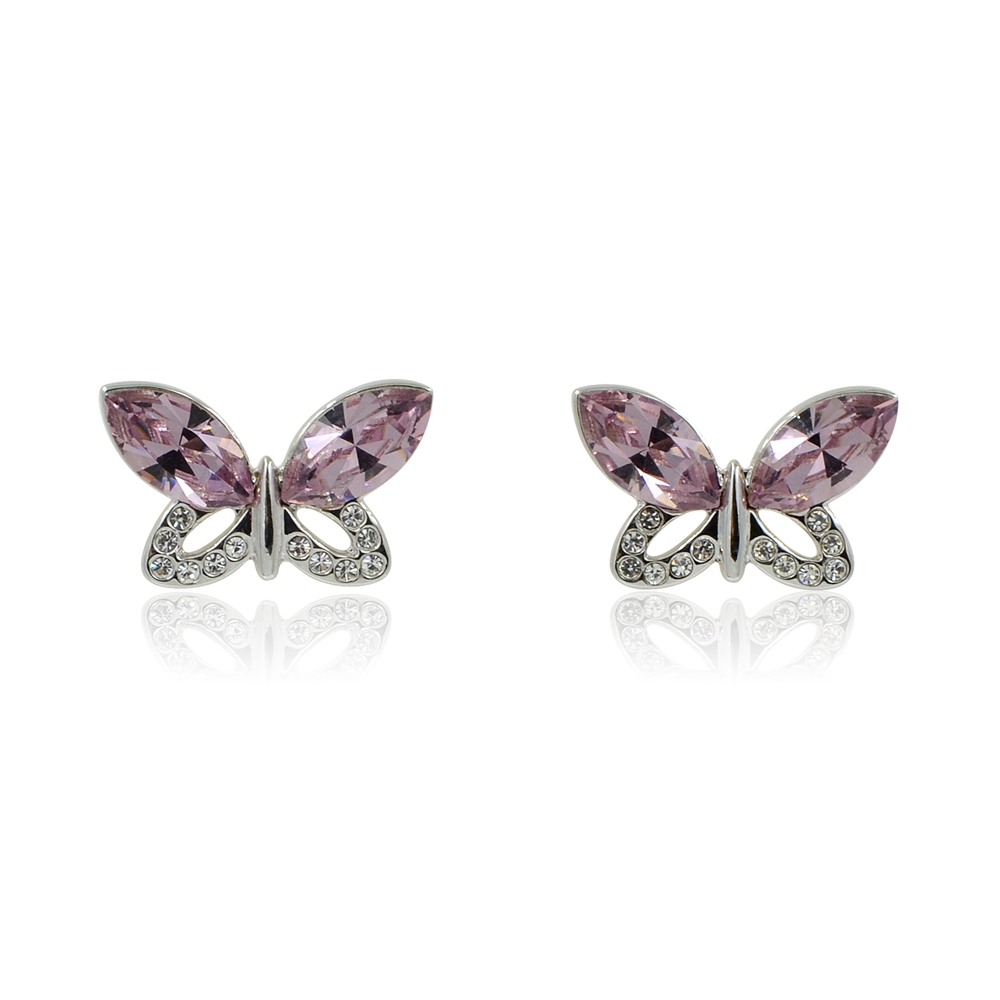 100% authentic complete in specifications 2018 shoes Purple Swarovski Crystal Butterfly Stud Earrings