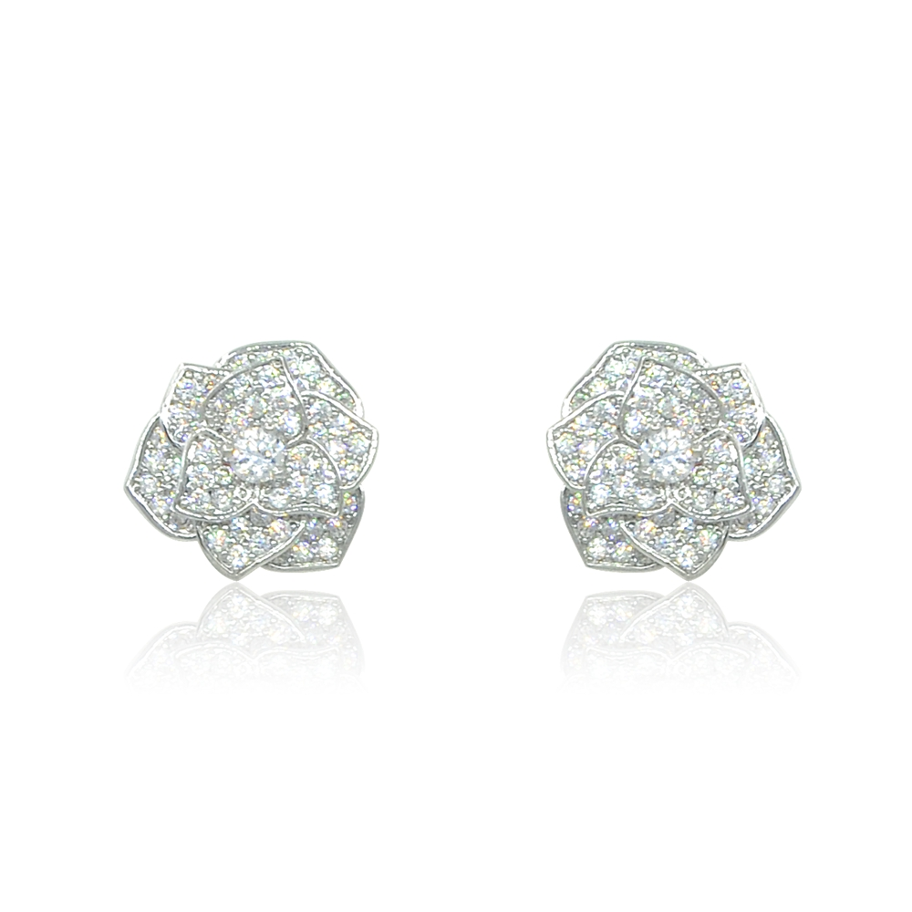 Rose Bud Flower Cubic Zirconia Silver Diamond Stud Earrings Espere Jewelry