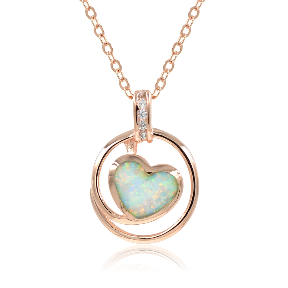 Simulated Opal Heart Pendant Necklace 18 Espere Jewelry