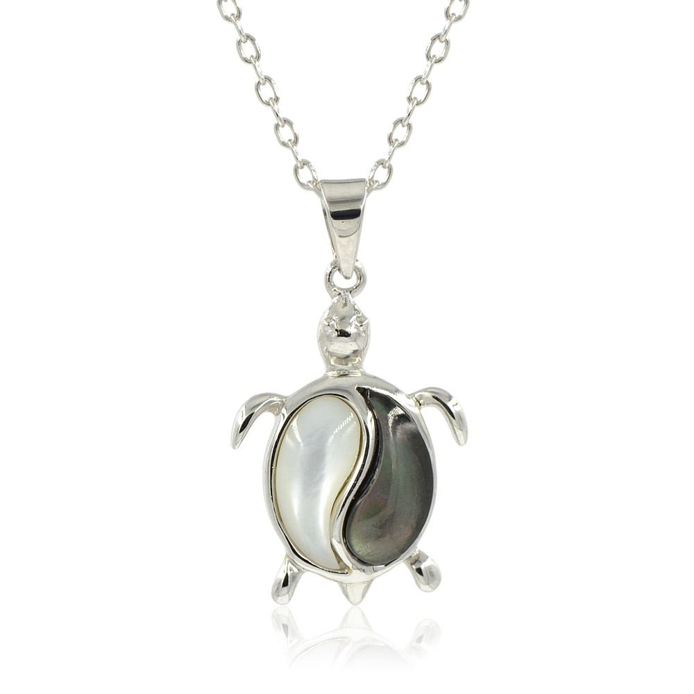 Solid 925 Sterling Silver Mother Of Pearl Shell Yin /& Yang Pendant Necklace Gift